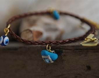 Brown bracelet luck turquoise cameo leather anklet gold Jerusalem amulets good energies keepers