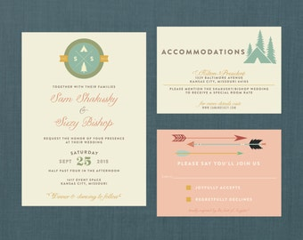 Whimsical Camp Wedding Invitation // DIY Printable Invite + RSVP // Wes Anderson Wedding, Camp Wedding, Forest Wedding, Woodland Wedding