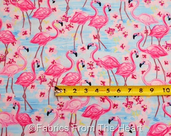 Flamingos Pink Birds Flower Blue Waters BY YARDS Timeless Treasure Cotton Fabric