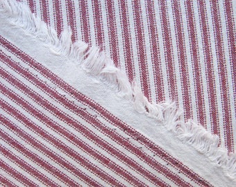Japanese Red Ticking Cotton Fabric By The Yard