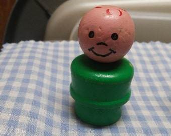 Fisher Price Little People Little Boy, Green, Red Hair Wooden