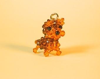 Smoked Topaz Miniature Yorkshire Terrier - Swarovski Crystal Phone Charm / Pendant Top