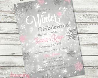 Winter ONEderland Snowflake Birthday Invitation - Pink  & Silver Glitter