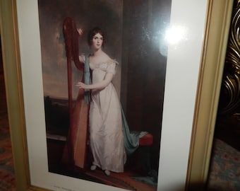 THOMAS SULLY Lady with a Harp Vintage Print Wall Hanging