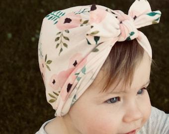 Peach Floral Turban