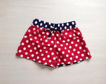 Cotton woman summer shorts board shorts surf shorts 2 in 1 shorts / nautical red and white polka dots print
