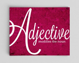 Grammar Print Adjective Part of Speech English Print Gift Teacher Gifts for Teachers Typographic Print English Gifts Gag Gift Office Decor