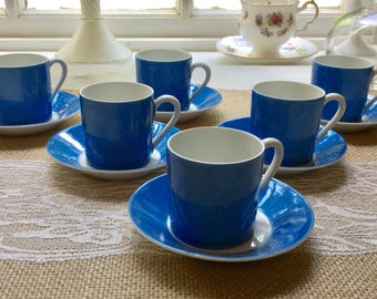 Set of Six Vintage Limoges Colbolt Blue Exresso Cups and Saucers,France