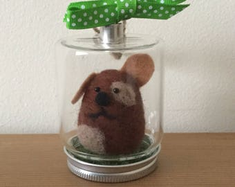 Hand needle felted puppy dog in hanging glass jar.