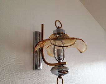 mid century Wall lamp of smoked glass and metal - vintage