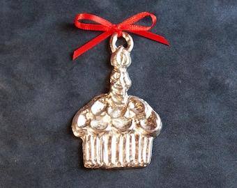 Pewter Cupcake Ornament