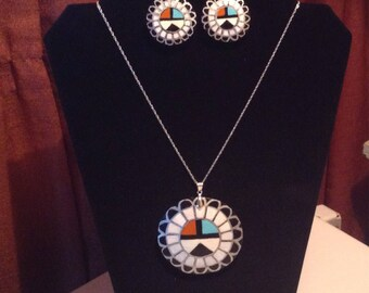 Zuni sun face and feather gourd necklace and earrings set