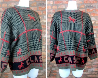 Vintage Horse Sweater 90s Vintage Novelty Sweater XL Sweater Pullover Horse Print Oversized Sweater Wool Sweater Equestrian Horse Lover Gift
