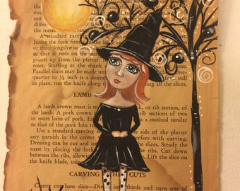 Witch on Book Page Original Painting
