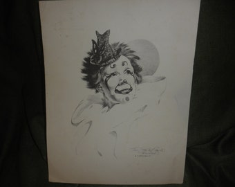 Clown Print Black/White Sign and Numbered by Toni Santo Regis 1979