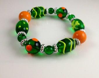 Lime and Tangerine Beaded Stretch Bracelet  Summer Accessory  Lampwork Beaded Bracelet  item 845