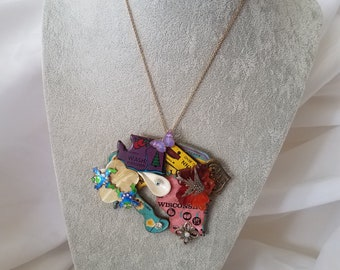 Assemblage Necklace-Puzzle Pieces w/Frogs and Bird #17