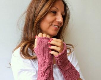 Clothing Gift. Dust Rose Fingerless Mittens Pink Fingerless Gloves Sister Gift Christmas Gift