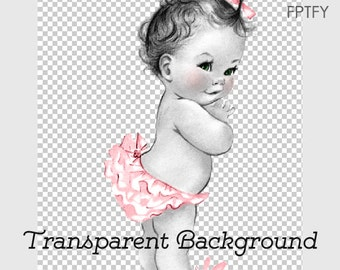 Adorable Vintage Light Pink Baby Ruffle Butt Girl LARGE PNG Digital Image Download Sheet Transfer To