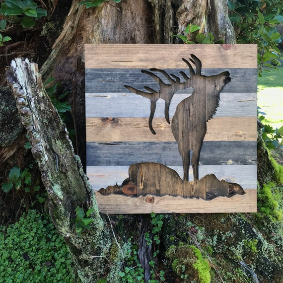 Inject Warmth Into Your Home With Reclaimed Wood Wall: Rustic Silhouette Bugling Elk Wood Wall Art