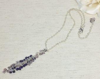 Bead tassel necklace, long tassel necklace, crystal necklace, purple necklace, everyday necklace, necklace gift, long necklace, gift for her