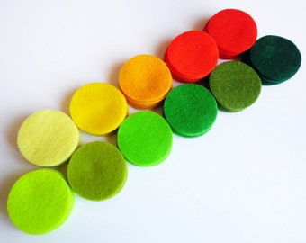 Felt Circles Shapes, Set of 99 felt circles, Size 1.5""
