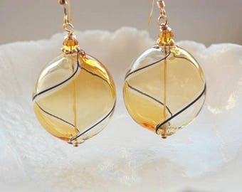 Amber Glass Earrings, Venetian Murano Glass