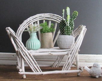 fun home decor - Vintage Rattan - handcrafted twig chair  - wicker plant stand -mid century – Boho décor