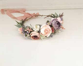 Blushing lilac flower crown- Flower crown-  floral Crown- Flower Girl- Well Dressed Wolf- Bridal flower crown