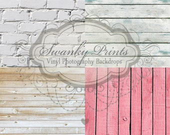 """SAMPLE PACK / FOUR 12"""" x 12"""" Mix and Match / Vinyl Photography Backdrops for Product Photos"""
