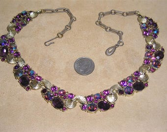 Vintage Lisner Necklace With Purple And Iridescent Rhinestones Chic 1960's Signed Jewelry 11075