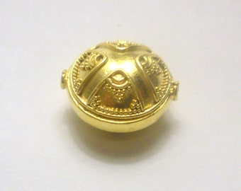 Bali Vermeil Gold Over Sterling Oval Bead 20mm