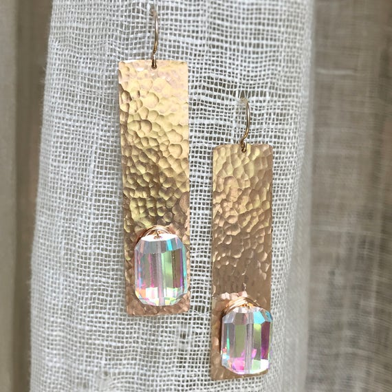 Bifröst Earrings in Bronze and Mystic Quartz