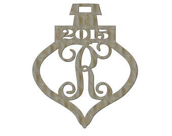 Unfinished Wood Christmas Ornament Vine Year Monogram Door Hanger 20.75 inch tall x 17.5 inch wide