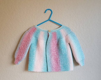 Handknit Baby Cardigan in Mermaid Shades/Knit Baby Jumper/Knit Baby Sweater/Baby Knits/Baby Shower Gift
