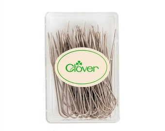 40 Clover Fork Blocking Pins. Stainless Steel in a Reusable clear acrylic box. U-pin shape for secure pinning. For wet and steam blocking.
