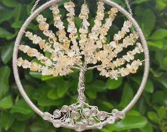 Tree of Life Citrine Sun Catcher, Dream Catcher,  Wall Art, Window Hanging, wire tree, wire tree of life