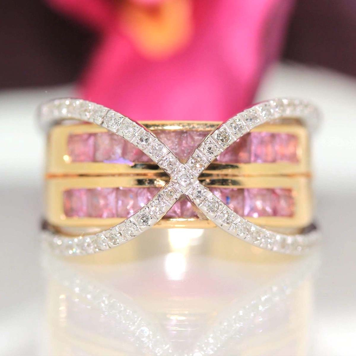 Designer John C Riker 14k Yellow gold Natural Pink Tourmaline