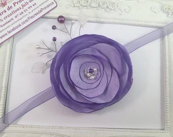 Bracelet with flowers of silk Mauve - purple for maid of honor