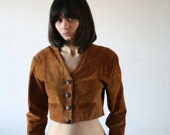 Vintage brown genuine suede jacket Cropped leather jacket Bomber jacket Brown crop jacket Urban indie jacket S/M 70's