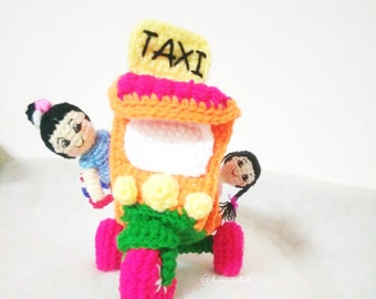 tuk tuk thailand crochet:tuktuk,tuk tuk,tuk tuk thailand,thai tuk tuk,handmade,thai dolls,thai handmade,crochet,craft,car crochet