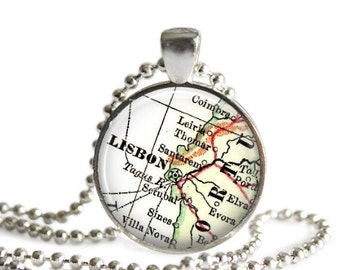 Travel map necklace of Lisbon, Portugal, map necklace pendant charms: Lisbon necklace, Portugal map jewelry, portugese jewelry, A200