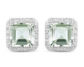9.16 Carat Genuine Natural AAA Green Amethyst Asscher Cut 10mm & White Diamond .925 Sterling Silver Earrings Super Fine Quality and Design!