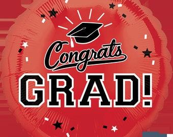 "18"" Red Congrats Grad Mylar Balloon: Graduation, Seniors, Class Colors, Birthday, Shower, Wedding, College, Dorm, School, Photo Prop, 2018"