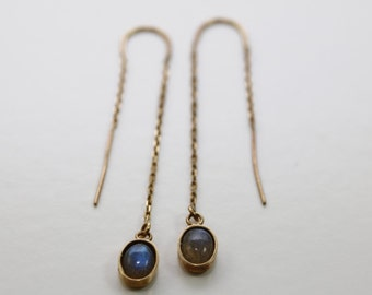 Labradorite Ear Threaders in 14K Yellow Gold Plating