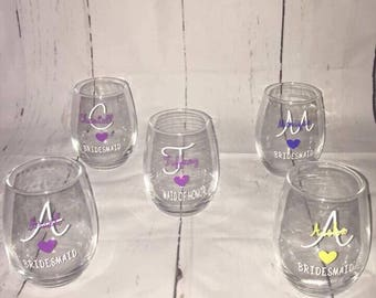 Stemless Bridesmaids wine glasses