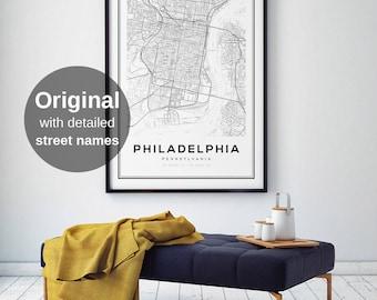 Philadelphia Map, Philadelphia Map Print, Pennsylvania Map, United States Map Print, Philadelphia Pennsylvania, Black and White Map