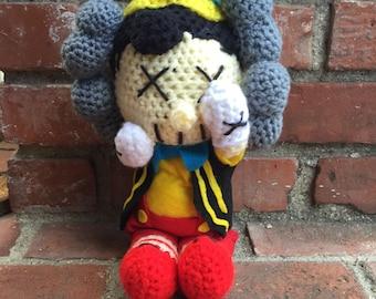 Crochet Pinocchio Kaws doll.