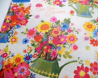 Vintage Wrapping Paper, Vintage Gift Wrap, Flower Watering Can Mothers Day, one sheet 29X19 inches, Wedding Baby Gift Wrap, Floral