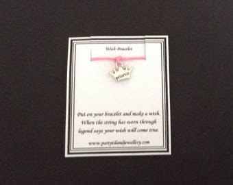 PRINCESS CROWN Charm Pale Pink Friendship Bracelet on Wish Message Card - Princess Party Bags Pageant Prom